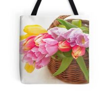Bouquet of tulips in a basket Tote Bag