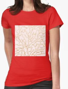 Luxurious faux gold glitter foliage handdrawn Womens Fitted T-Shirt