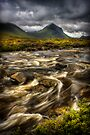Marsco and swollen river at Sligachan, Isle of Skye. Scotland. by PhotosEcosse