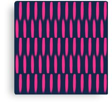 Modern abstract neon pink navy blue brushstrokes Canvas Print