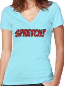Red Spretch! Women's Fitted V-Neck T-Shirt