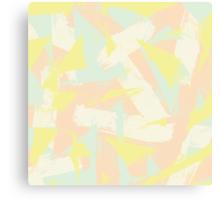 Modern abstract retro yellow mint pink brushstroke Canvas Print