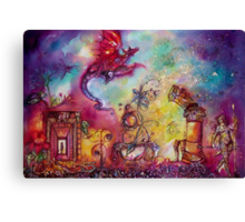GARDEN OF THE LOST SHADOWS  / FLYING RED DRAGON Canvas Print