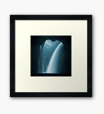 Trümmelbachfälle: cyan 2 Framed Print