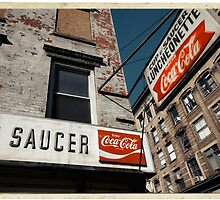 Cup & Saucer - New York City Store Sign Kodachrome Postcards  by Reinvention