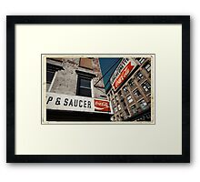 Cup & Saucer - New York City Store Sign Kodachrome Postcards  Framed Print