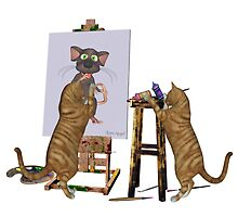 Artists at Work .. cheeky cats by LoneAngel