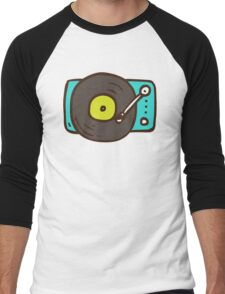 Hand Drawn Vinyl Record Turntable Men's Baseball ¾ T-Shirt