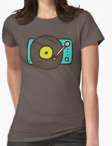 Hand Drawn Vinyl Record Turntable Womens Fitted T-Shirt