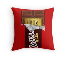 willy wonka chocolate bar cover for imagination Throw Pillow