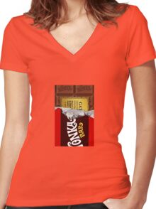 willy wonka chocolate bar cover for imagination Women's Fitted V-Neck T-Shirt
