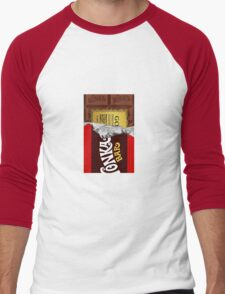 willy wonka chocolate bar cover for imagination Men's Baseball ¾ T-Shirt
