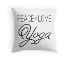 Peace, Love, Yoga- Grey Throw Pillow