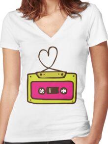 Hand Drawn Audio Tape Cassette Women's Fitted V-Neck T-Shirt