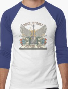 Rock n Roll Will Never Die Men's Baseball ¾ T-Shirt