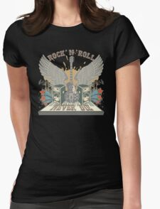 Rock n Roll Will Never Die Womens Fitted T-Shirt