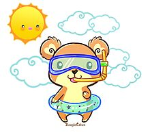 Kawaii Summer Time Snorkeling Bear Photographic Print