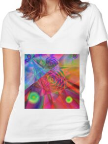 """ The energy is the enjoyment universal "" Women's Fitted V-Neck T-Shirt"