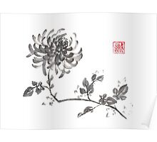 Golden dragon Chrysanthemum sumi-e painting Poster