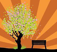 Beautiful sakura and bench 3 by AnnArtshock