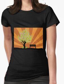 Beautiful sakura and bench 3 Womens Fitted T-Shirt