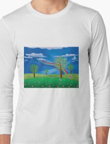 Blooming tree on grass field Long Sleeve T-Shirt