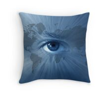 World-map and  blue eye Throw Pillow