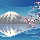 Branch of Sakura and Volcano by AnnArtshock