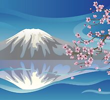 Branch of Sakura and Volcano by AnnArtshock
