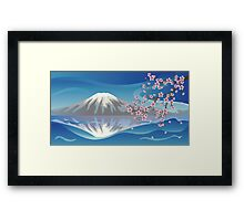 Branch of Sakura and Volcano Framed Print
