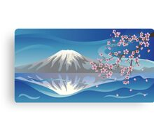 Branch of Sakura and Volcano Canvas Print