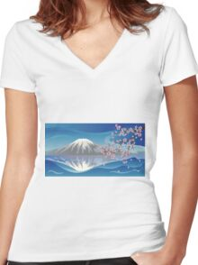 Branch of Sakura and Volcano Women's Fitted V-Neck T-Shirt