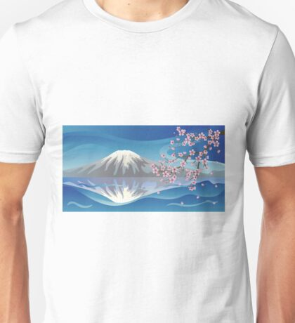 Branch of Sakura and Volcano Unisex T-Shirt