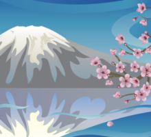 Branch of Sakura and Volcano Sticker