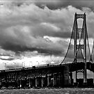 mackinac bridge in BnW by Theodore Black