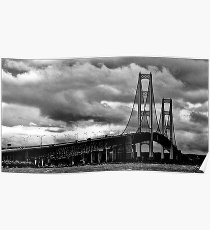 mackinac bridge in BnW Poster