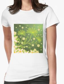 Green floral background Womens Fitted T-Shirt