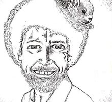 Bob Ross with squirrel in afro by paislyjane