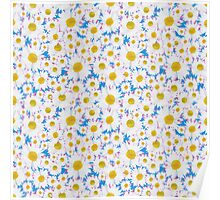 Ditsy White Daisies on Sky Blue Poster