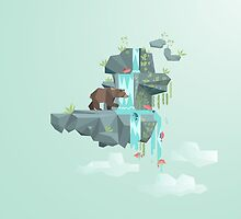 Low Poly Bear Fishing for Salmon by scarriebarrie