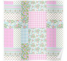 Pretty Pink Dog Roses Faux Patchwork Poster