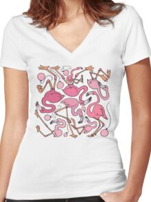 Flamingos and Balloons Women's Fitted V-Neck T-Shirt