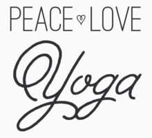 Peace, Love, Yoga- Grey Baby Tee