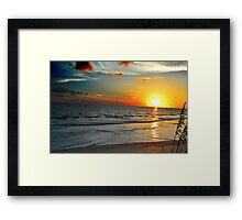 Sunset And Sea Wheat Framed Print