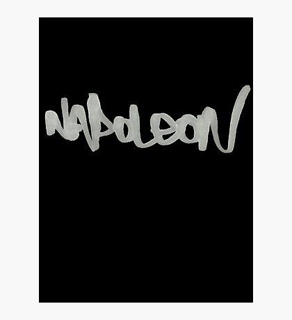 Napoleon Logo - Ink - White on Black Photographic Print