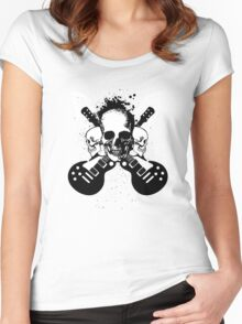 Skull and Guitars Women's Fitted Scoop T-Shirt