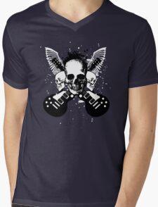 Skull and Guitars Mens V-Neck T-Shirt
