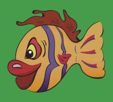 Smiling cartoon fish One Piece - Short Sleeve