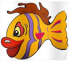 Smiling cartoon fish Poster