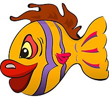 Smiling cartoon fish Photographic Print